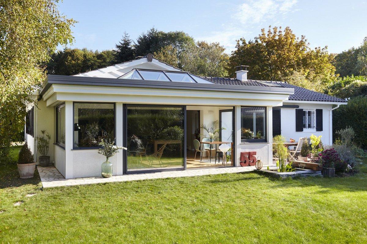 Extension veranda maison extension du0027une maison avec for Extension maison 73