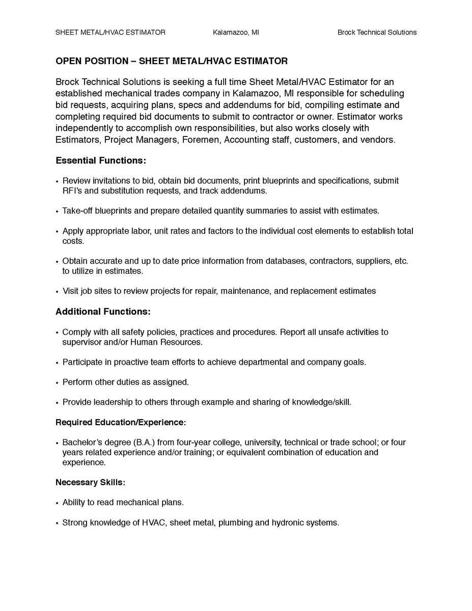 mtu career services on twitter patchinspick brock technical solutions is seeking a full time sheet metalhvac estimator in kalamazoo - Hvac Estimator