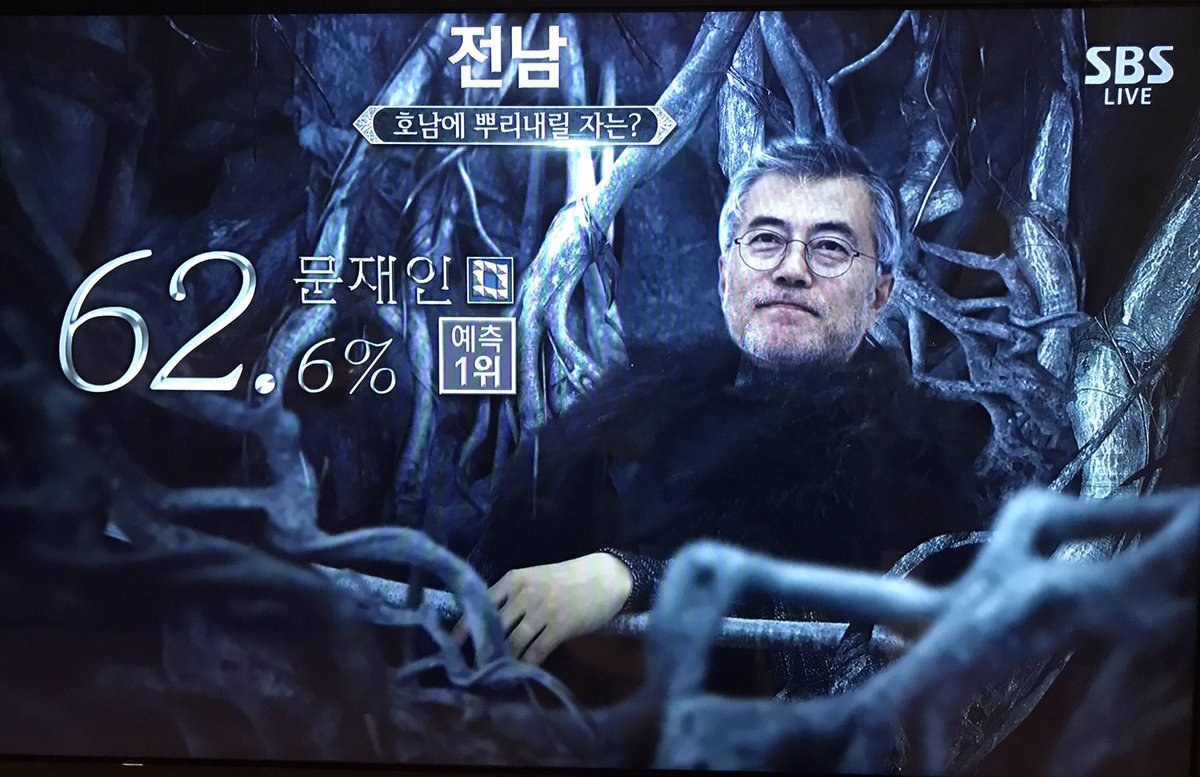 South Korea's SBS is doing a whole Game of Thrones thing with its election results