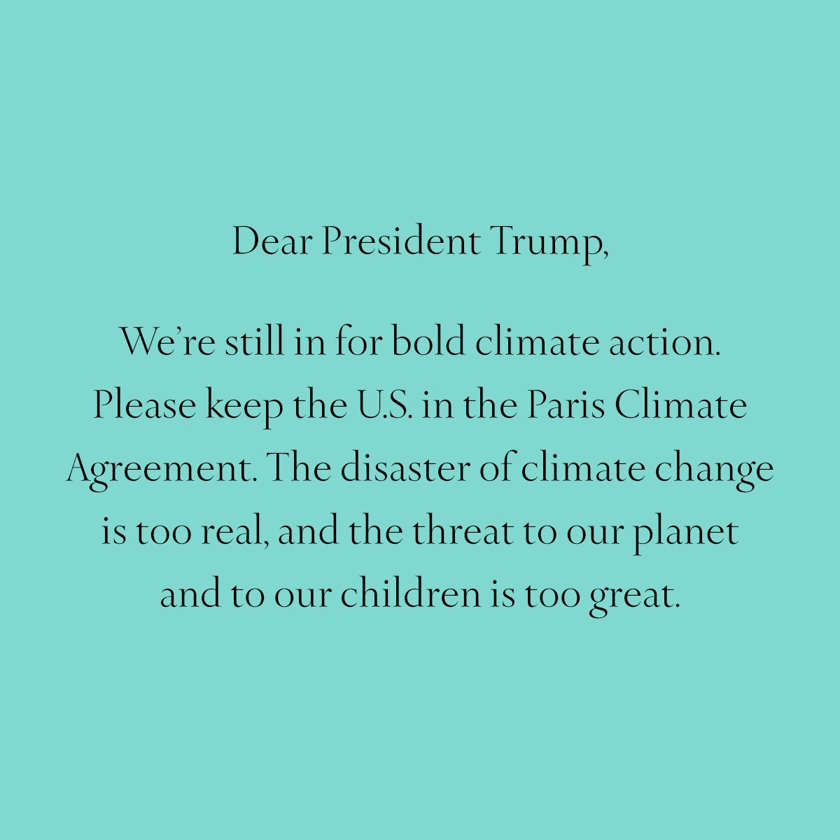 Tiffany strongly supports keeping the U.S. in the #ParisAgreement. https://t.co/oGC4wdz4aQ