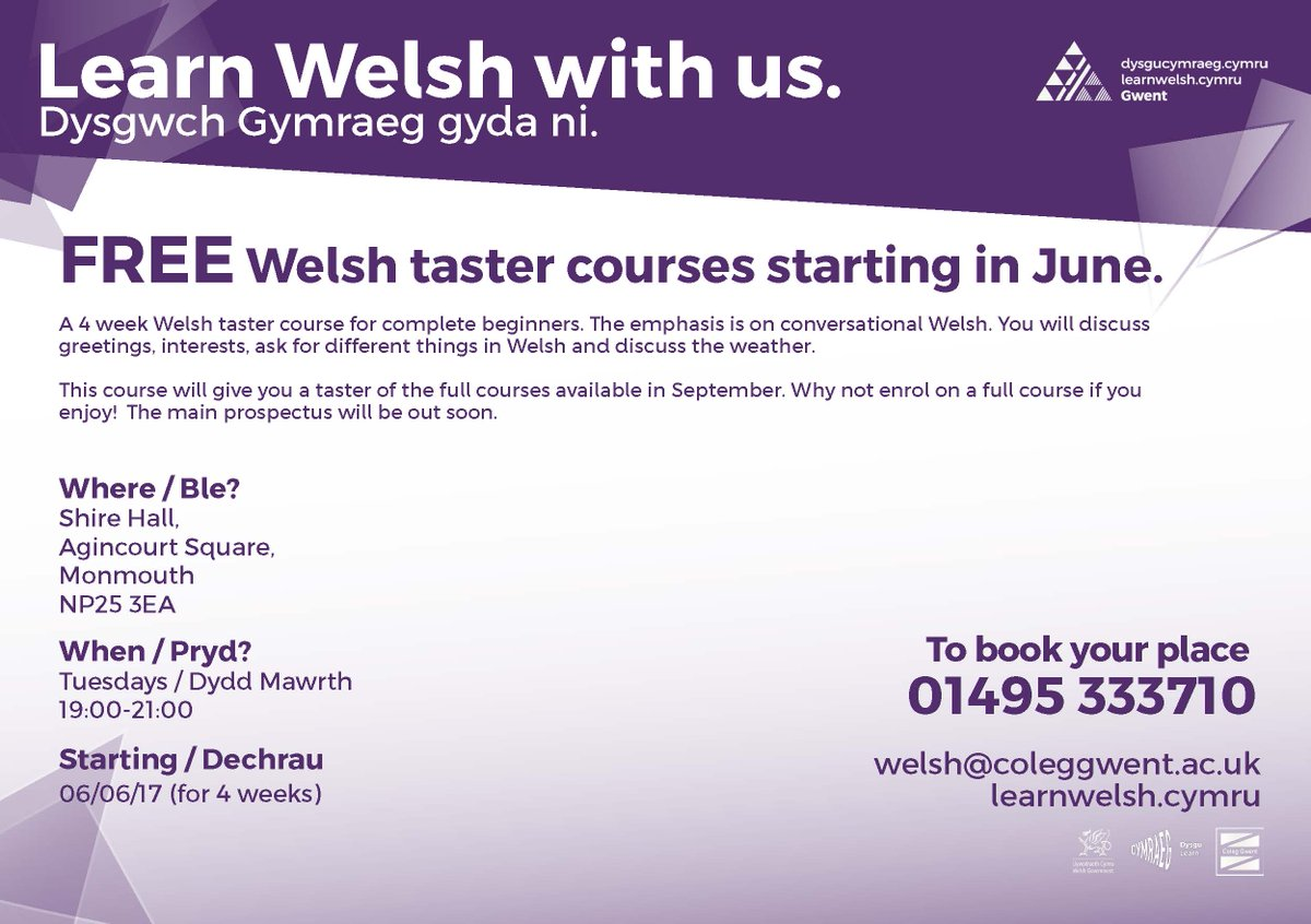Learn Welsh Gwent On Twitter Free Welsh Taster Session