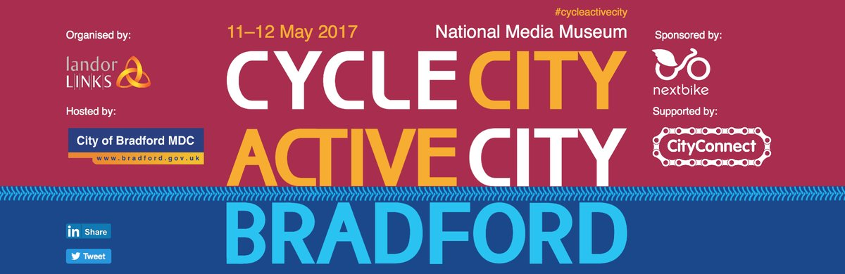 The prestigious Cycle City Active City Conference Bradford 11-12 May.  For more info & to book: https://t.co/l6JX81dICp.  #cycleactivecity https://t.co/RuvYrBJxDv