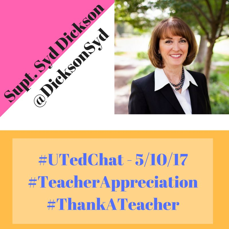 Don't forget, #UTedChat happens tonight @ 9pm MDT w/ @DicksonSyd leading the chat on #TeacherAppreciation. Bring friends! #BetterTogether https://t.co/Lpyxt7AA3v
