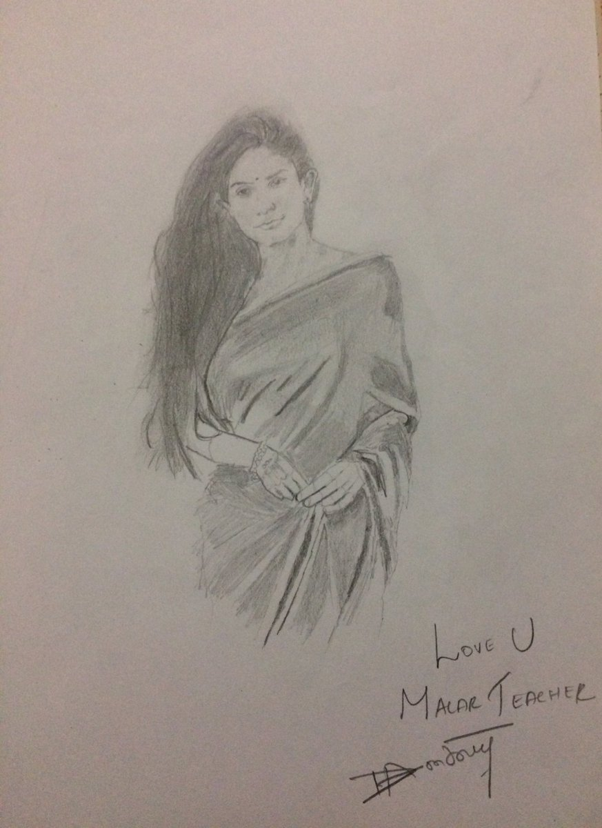 Antony cross deo on twitter happy birthday my dear malar teacher my pencil sketch of sai pallavi sai pallavi92 happybirthdaysaipallavi hbdsaipallavi