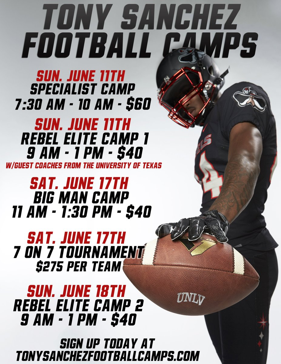 Unlv Football On Twitter This Year S Tony Sanchez Football Camps
