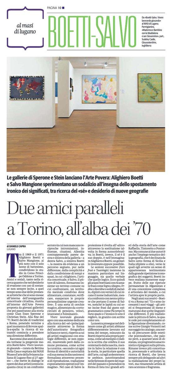 #BoettiSalvo amici artisti nella #Torino #anni70. Su #Alias de @ilmanifesto mio pezzo su mostra del #MASI di #Lugano curata da @bettinadc