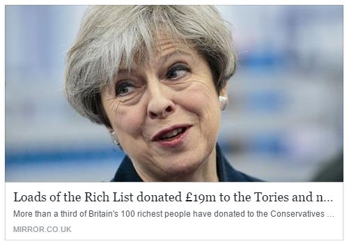 35 of richest 100 people in Britain gave £19m to Conservative Party. They support a rigged system for a few, we challenge it for the many.