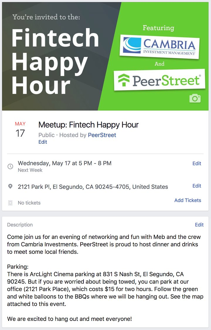 Hosting a fintech happy hour meetup next week in L.A. with friends from @PeerStreet  BBQ and beers, come say hello!  https://t.co/PwSEQKq2AU https://t.co/UEXxiLXX9V