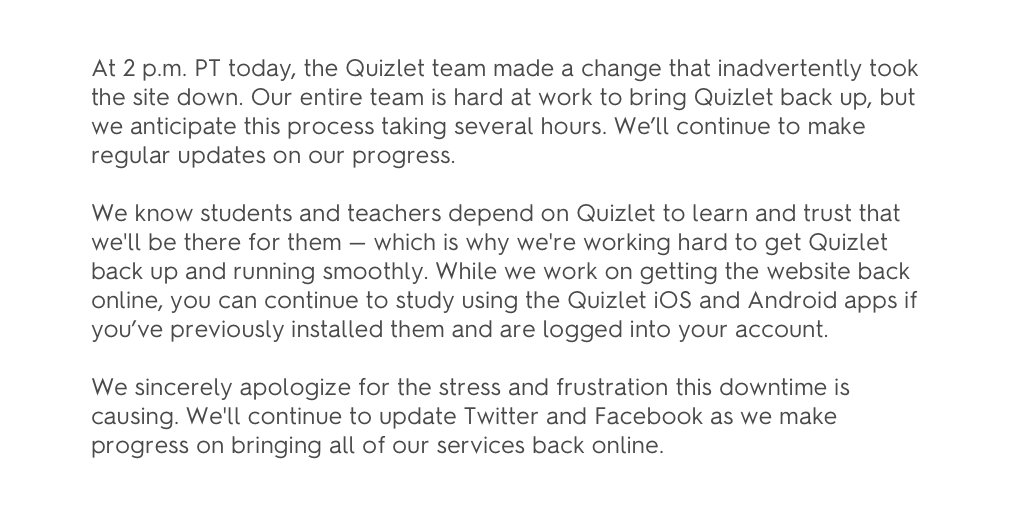 A quick update on the downtime we're experiencing right now: https://t.co/PdTq28BUxo