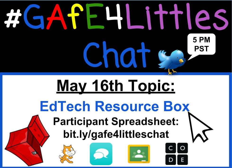 WELCOME TO THE #GAfE4Littles Chat! Today we'll be sharing about #edtech resources! #SuperExcited Questions are here: https://t.co/Yh2qbFCdvc https://t.co/5xnd7YZv36