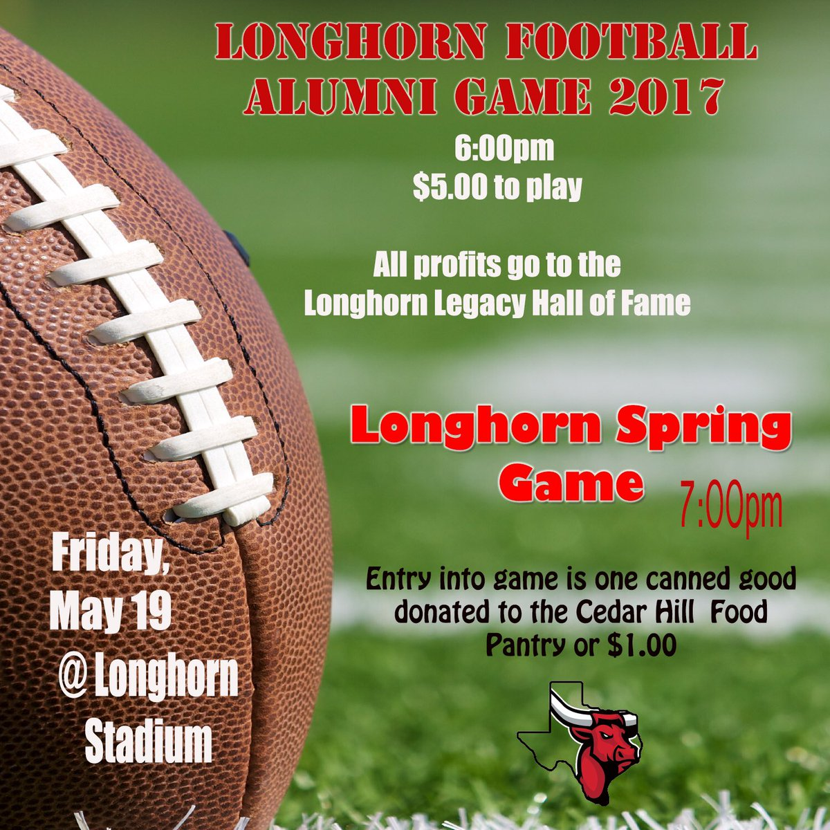 Cedar Hill Longhorns on Twitter Alumni game 600pm Spring