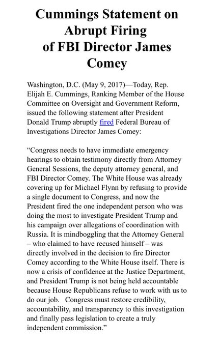 JUST IN: House Oversight Ranking Member Cummings calls for emergency hearings with AG Sessions, Deputy AG Rosenstein and FBI Director Comey.