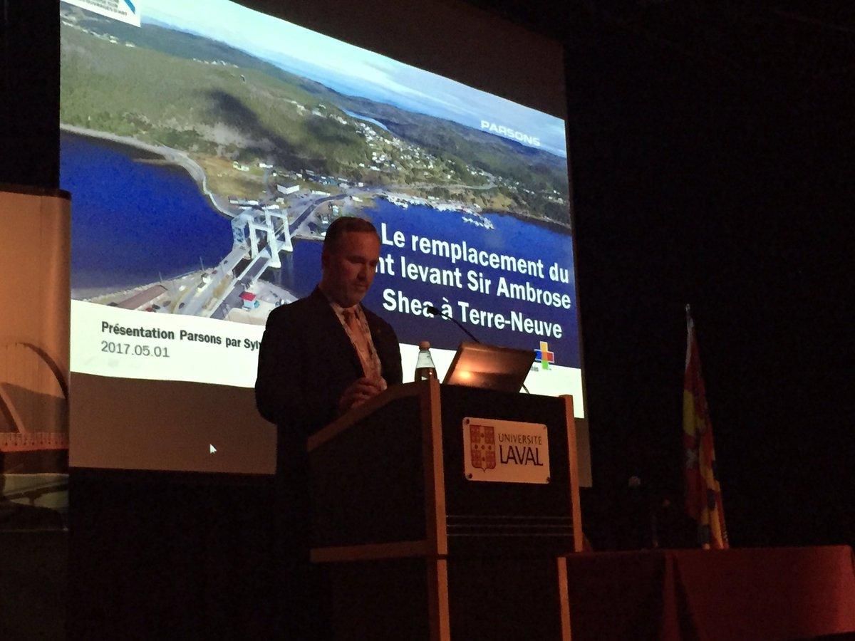 Sir Ambrose Shea Bridge by Sylvain Montminy, Parsons @MTQ conference on QC research progression on bridges  #mtq #steel @CISC_ICCA<br>http://pic.twitter.com/FrkxgbKnTu