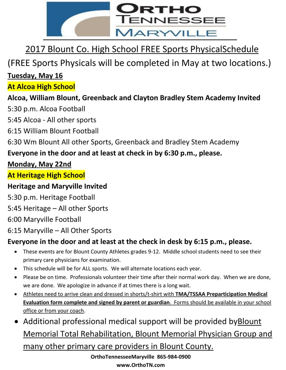 Tennessee blount county alcoa - Student Athlete Parents Ortho Tennessee Of Maryville Is Sponsoring 2 Free Sports Physical Clinics For Rising 9th 12th Grade Students Pic Twitter Com