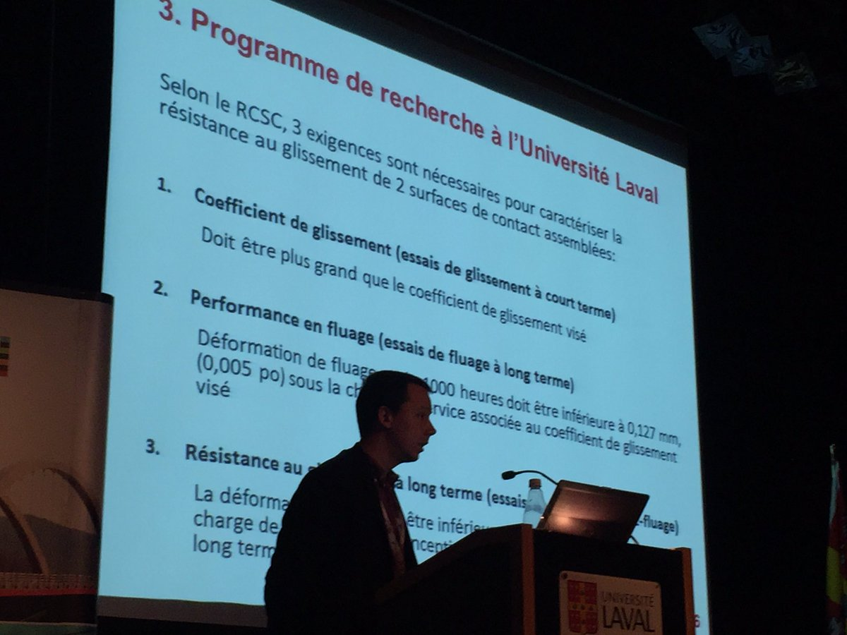 Maxime Ampleman re Canam-ponts research at Laval University @MTQ conference on QC research progression on bridges  #mtq #steel @CISC_ICCA<br>http://pic.twitter.com/M36z0V7lzX