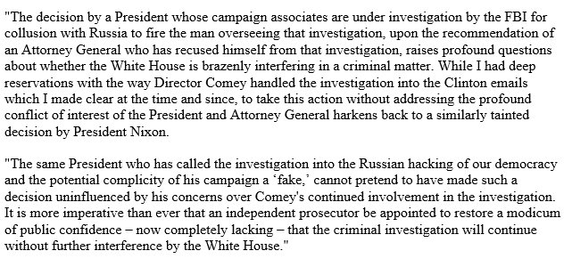 Firing of Comey tainted by extraordinary conflict of interest. Independent prosecutor must be appointed to restore any public confidence.