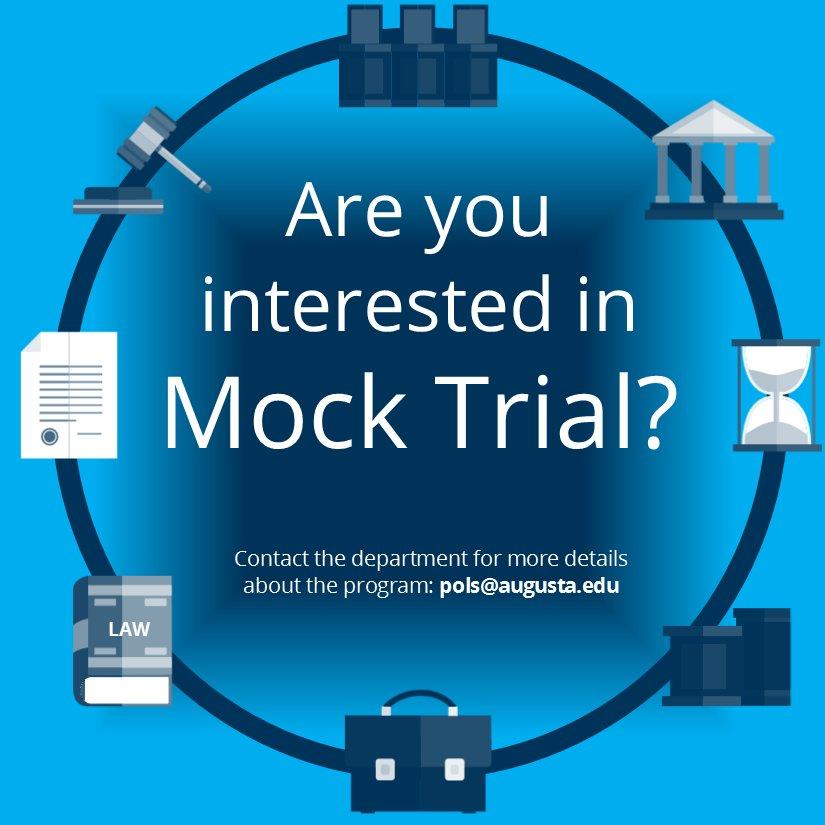 Like to argue? Considering law? Take Mock Trial this Fall CRN#18919 #WeArePamplin #MockTrial #lawnerds @AUG_PoliSci #CriminalJustice #GoJags<br>http://pic.twitter.com/y8OGJd1Rav