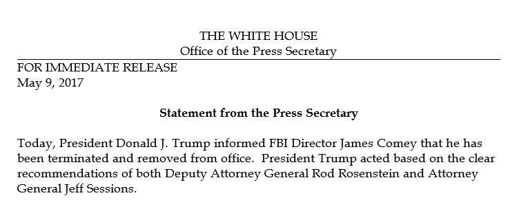 President Trump has fired FBI director James Comey – Letter of Firing