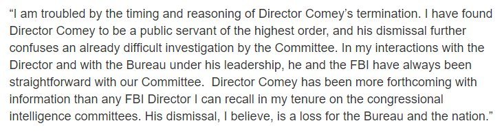 My statement on the dismissal of FBI Director Comey https://t.co/ovoe34xajZ https://t.co/1hB0QveczE