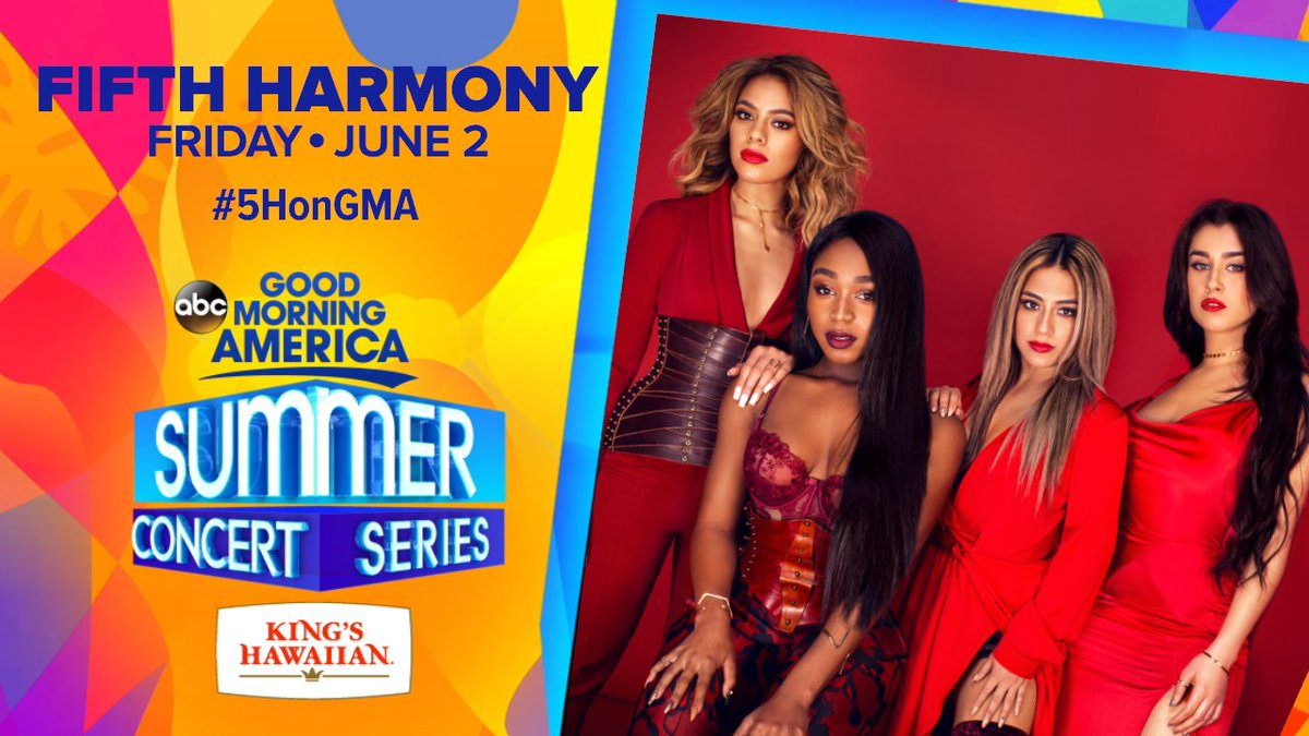 Excited to be part of @GMA\'s Summer Concert Series! Meet you June 2nd in Central Park! #5HonGMA