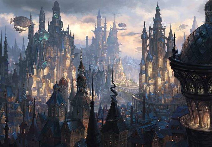 'St. Levin'. Steampunk fantasy city  by Alayna Lemmer-Danner