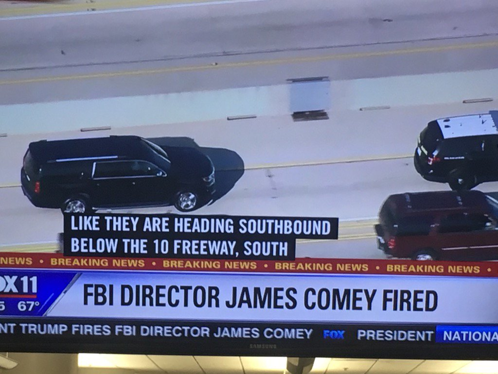 Fired #FBI director James Comey gets LA helicopter chase treatment https://t.co/zXfIjQj1sR