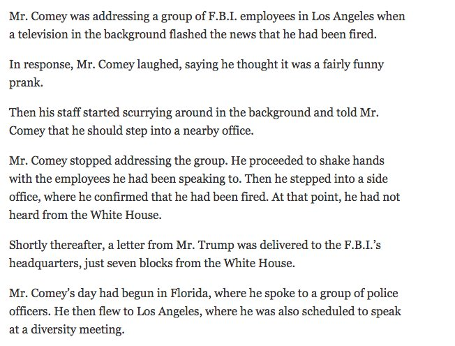 When James Comey first learned he had been fired, he thought it was a fairly funny prank https://t.co/cy1VYUKHJZ