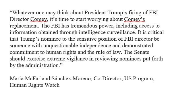 Our take @hrw on the Comey firing--keep a close eye on the next nominee: https://t.co/a0i5csdELy