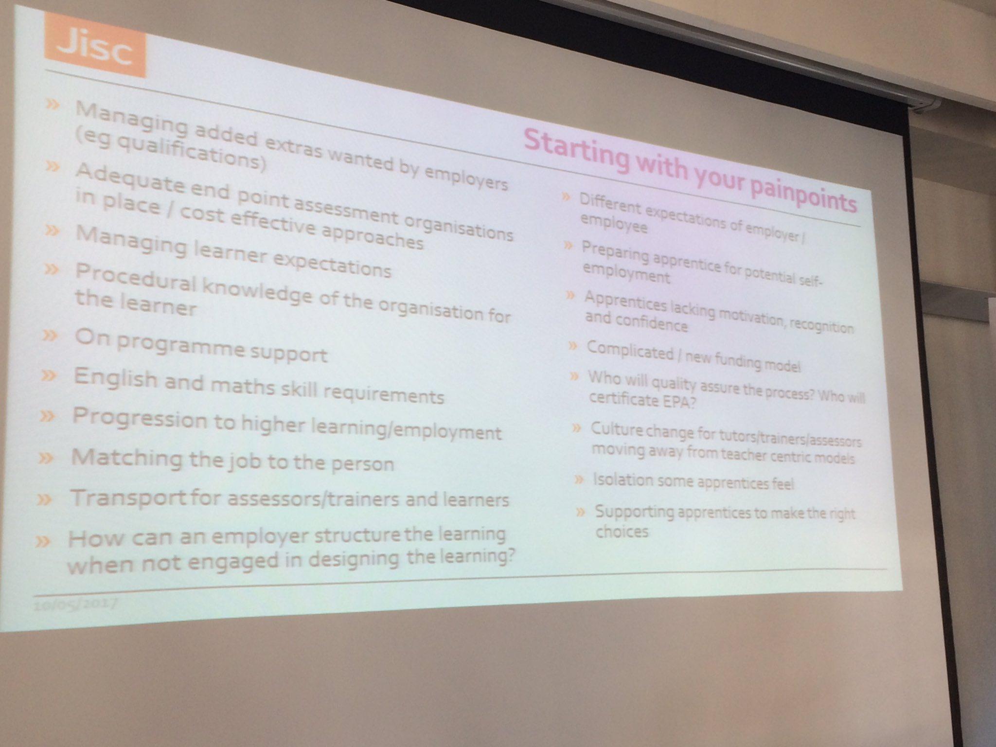 Pain points for #apprenticeships from @Jisc @ljanegray #feltag https://t.co/9cQ1LLZPbm