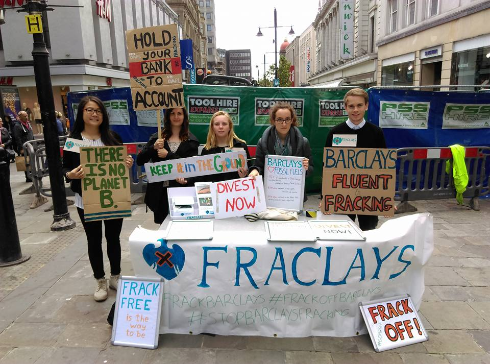 We're outside @Barclays because we want them to stop funding fracking #StopBarclaysFracking #FossilFree https://t.co/hMzd6rdNpn