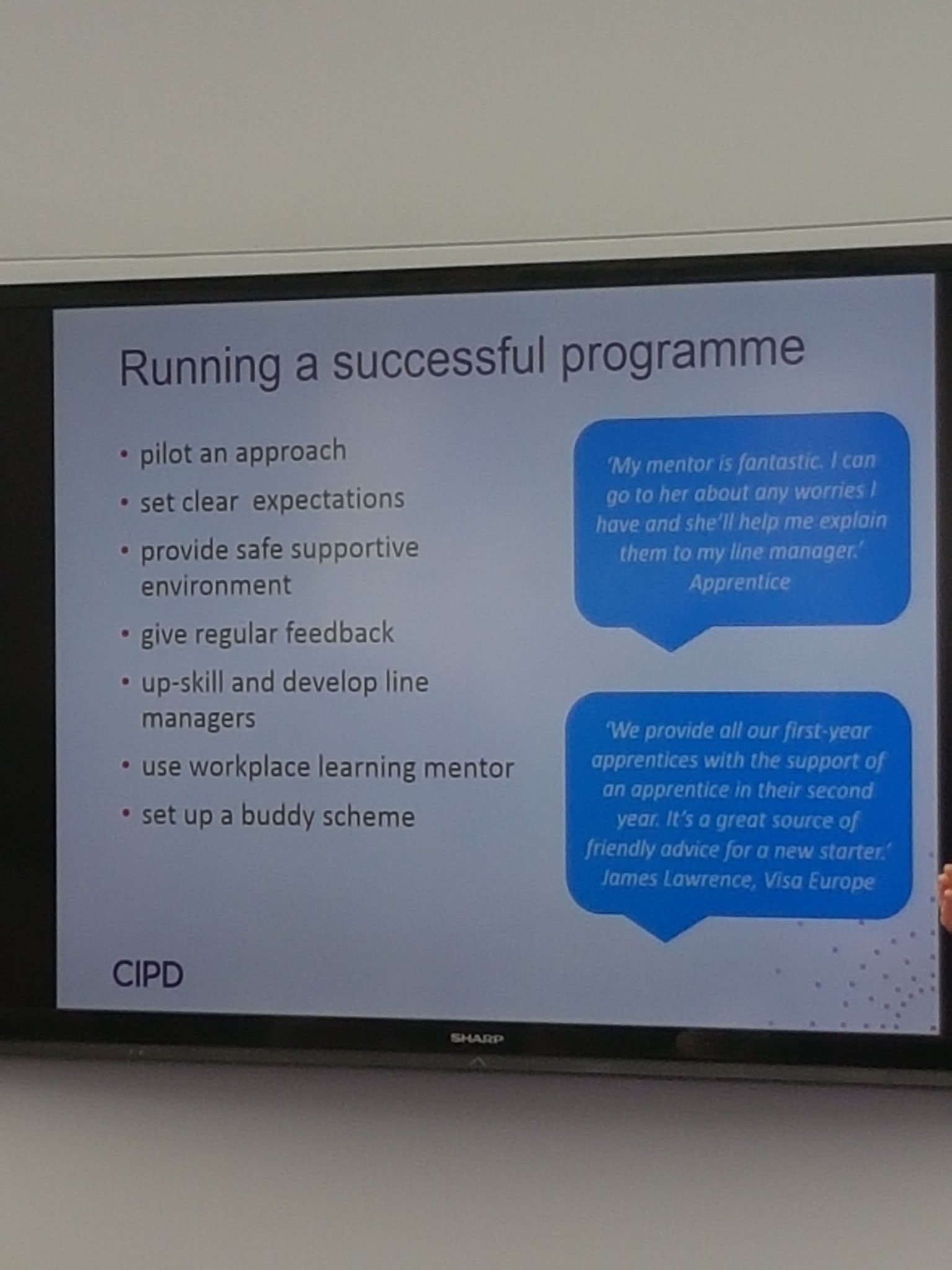 Running a successful #Apprenticeship programme. Great advice from @CIPD at #cipdldshow https://t.co/g6IF6vH2fE