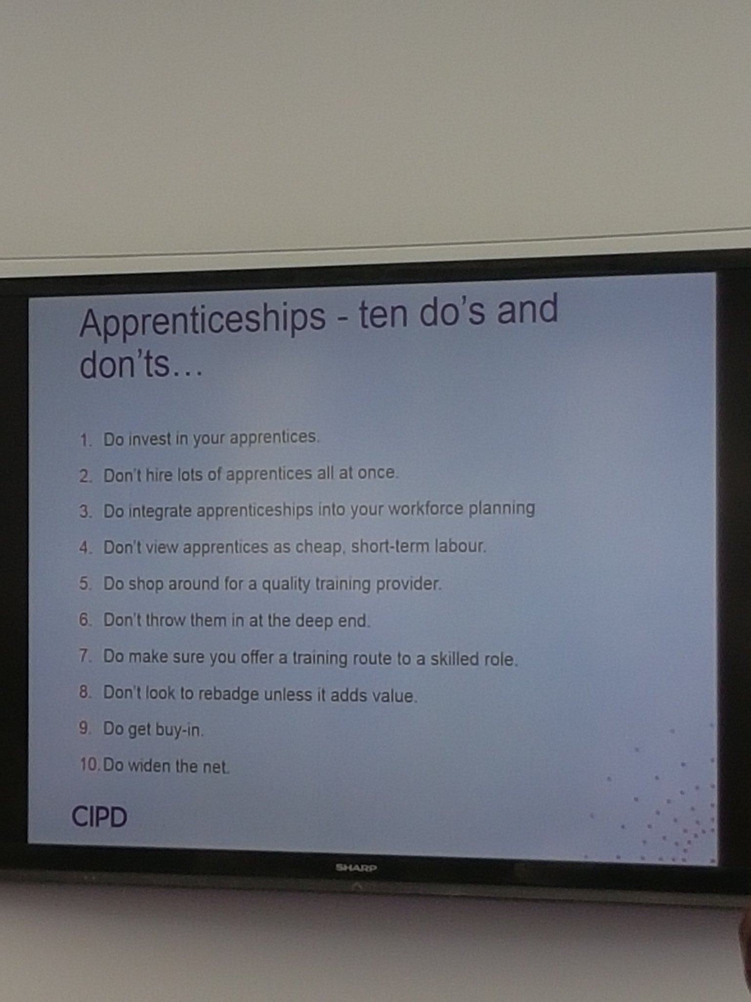 And some useful dos and donts for #Apprenticeship #cipdldshow ....#11 Use a managed learning service provider to manage them for you https://t.co/cnL4o2xqF8