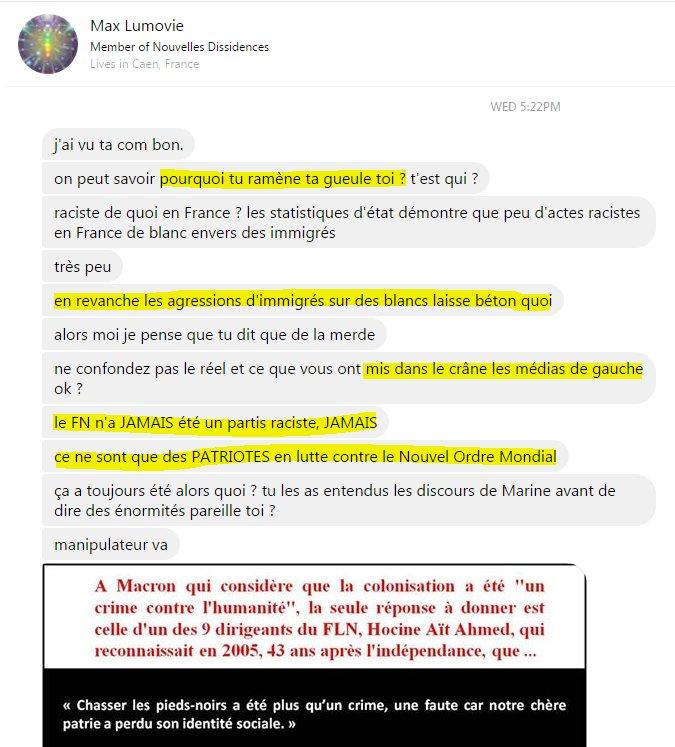 Quand ton collectif se fait insulter en MP par un pro #FHaine  #MarineOut #MarionOut #Avote #ElectionsPresidentielles2017<br>http://pic.twitter.com/hnHOE0PN7x
