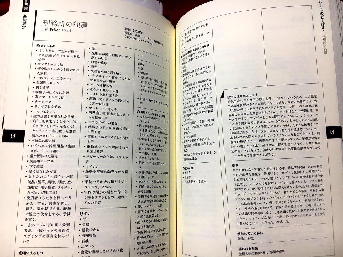 Twitterで友達が紹介していた「場面設定類語辞典」を買ってみたんだけど、滅茶苦茶便利だなコレ!  プロアマ問わず物書きさんには是非ともオススメしたい!  だって普段「刑務所の独房」なんて行けないだろ!