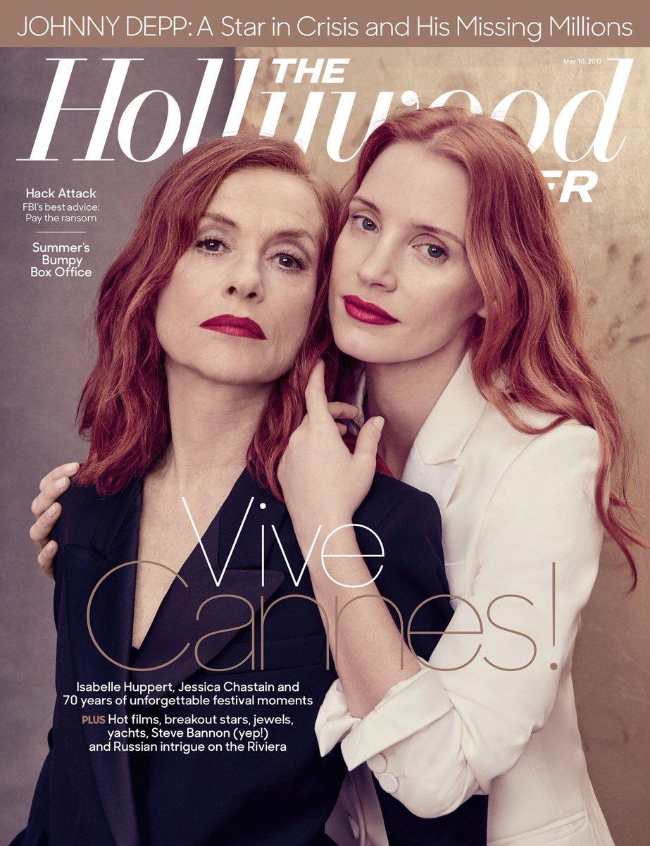 Isabelle Huppert et Jessica Chastain en couverture du @THR #Cannes2017 #Cannes70