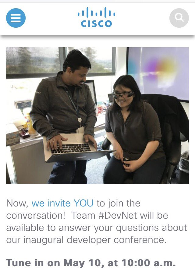 Retweet if you are joining today's #DevNetCreate #CiscoChat.  Meet the Speakers!  https://t.co/KwDzWksvqG @DevNetCreate #DevNet #CiscoSE https://t.co/b2DPR5YE9j