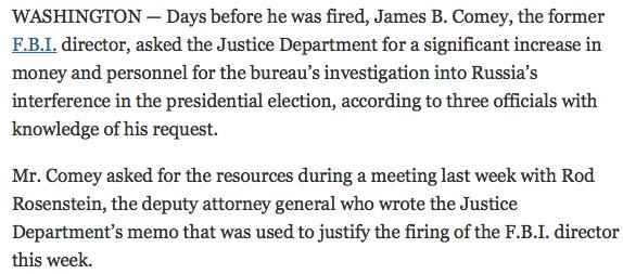 Days before he was fired, Comey asked for increase in budget for Russia investigation, says NYT in new report. https://t.co/3GFxU5A0Lq