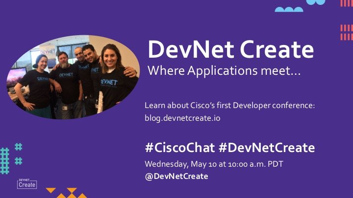 Happening in a few minutes @DevNetCreate #CiscoChat!  https://t.co/4G1ClQjxSP https://t.co/yBFfH211OV
