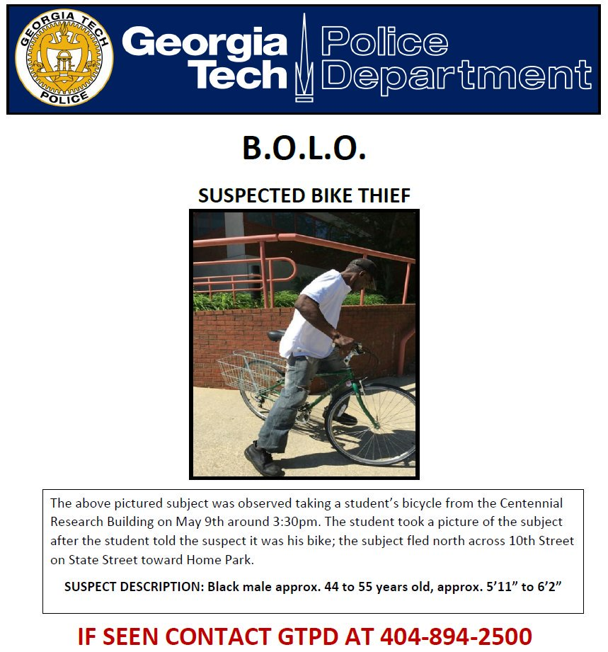Georgia Tech Police On Twitter BOLO This Subject From CRB Call
