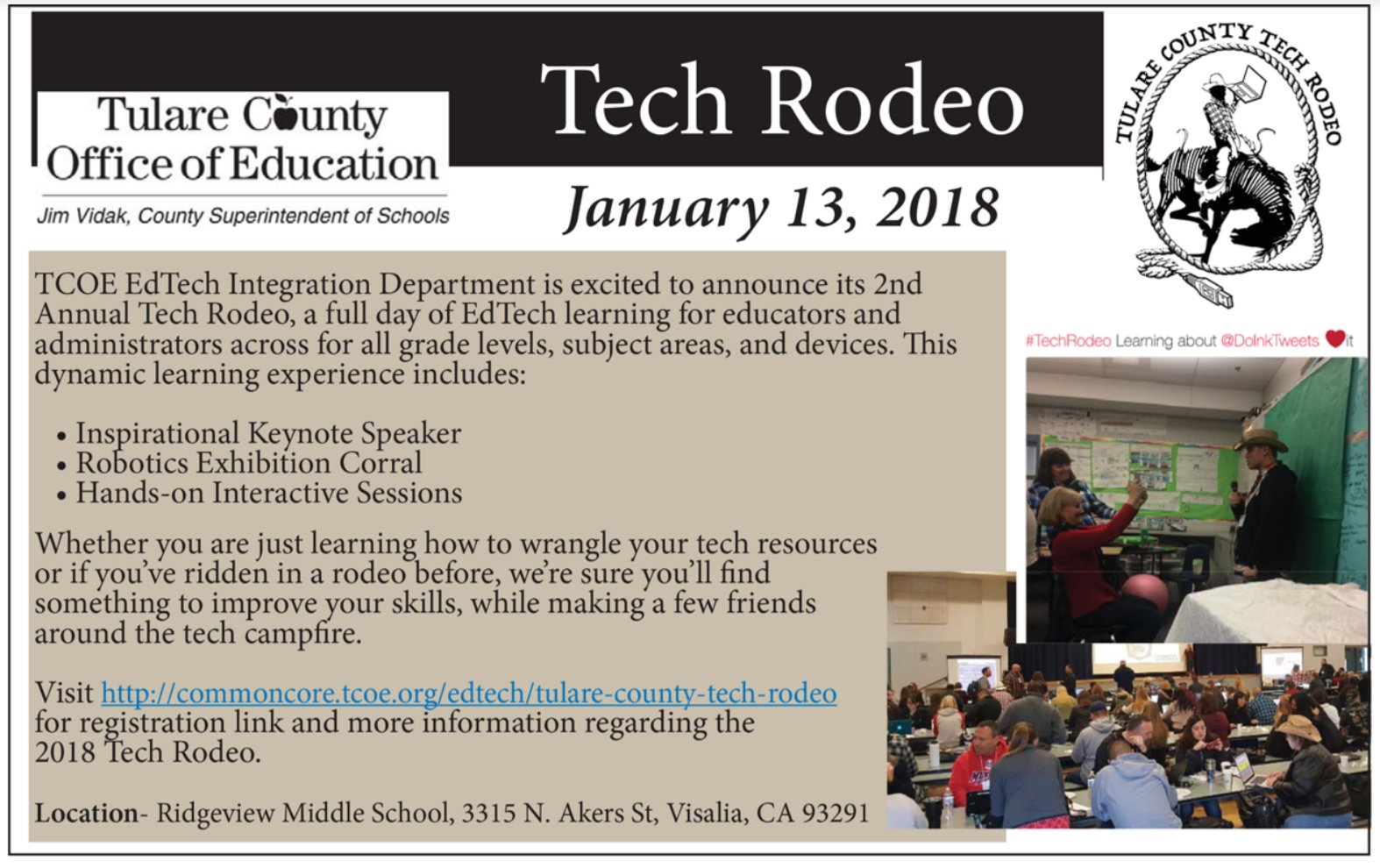 Howdy, #cvtechtalk! Join us for #techrodeo Sat, 1/13 in Central Cali. Info: https://t.co/aJQgLWVy4K Got Summer PD? https://t.co/ixPlyqGxmG https://t.co/fOgrgXs5eR
