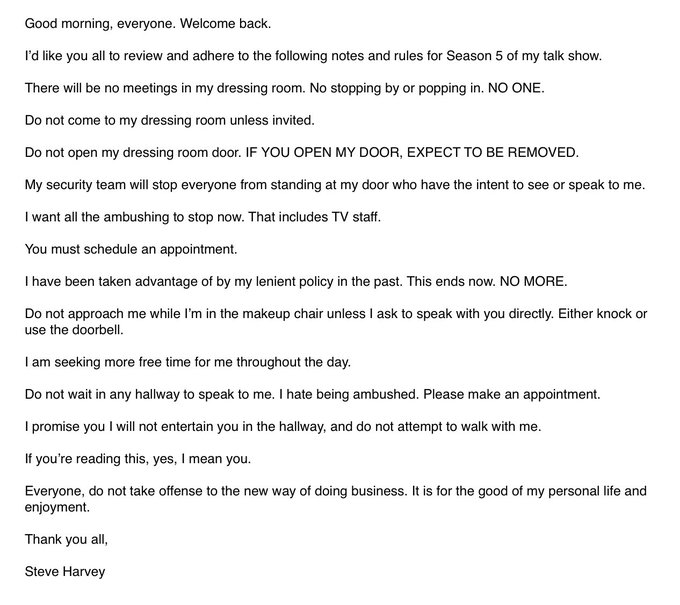 steve harvey's strange letter to his staff (updated) | mark | 98.7