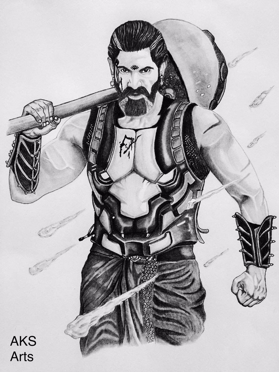 Amit koshti ak on twitter pencil sketch done by me of ranadaggubati sir as bhallaladeva from blockbuster movie of the year bahubali 2
