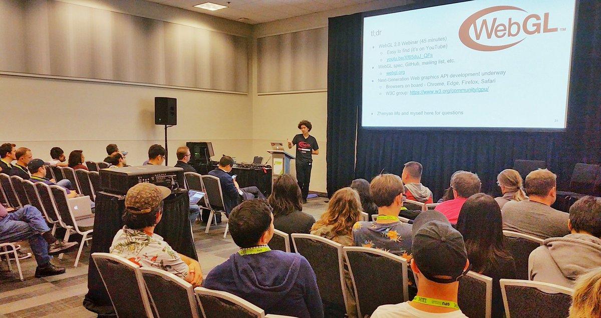 Kai from Google updating on #WebGL 2.0 at #GTC17 meetup - #glTF up next!