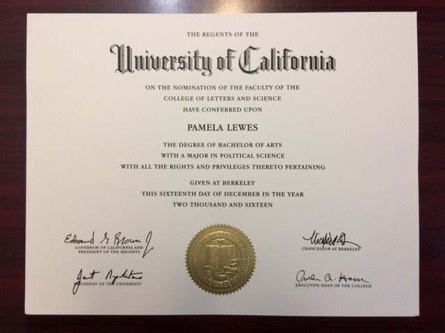 Pamela Lewes On Twitter Diploma From Uc Berkeley Finally Came In