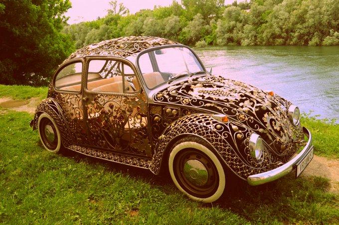 Steampunk Victorian filigree beetle Volkswagen by Metal Art shop Vrbanus