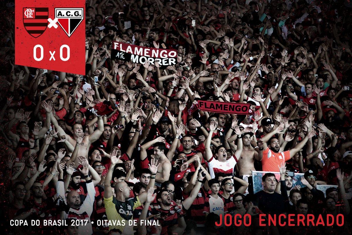 Fim de jogo no Maracanã! Sem gols no confronto entre rubro-negros. O jogo de volta será no dia 24, em Goiânia. #FLAxACG
