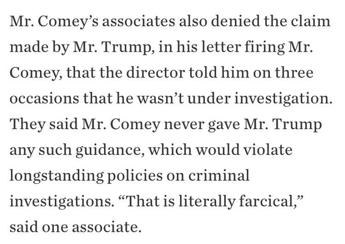 Trump claimed Comey told him three times he's not under investigation. Comey associates tell the WSJ that's nonsense https://t.co/lAzKUyUaOd