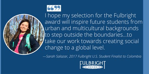 Congratulations to @possefoundation Scholar and @DePauwU senior, Sarah Salazar, on #Fulbright to Colombia! https://t.co/iTNkwoXTup https://t.co/XESwi6cGYW