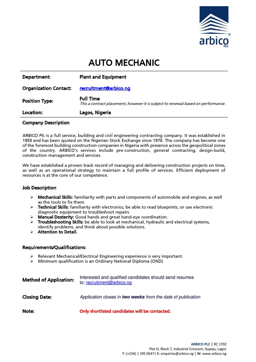 Arbico Plc arbicoplc – Stocker Job Description