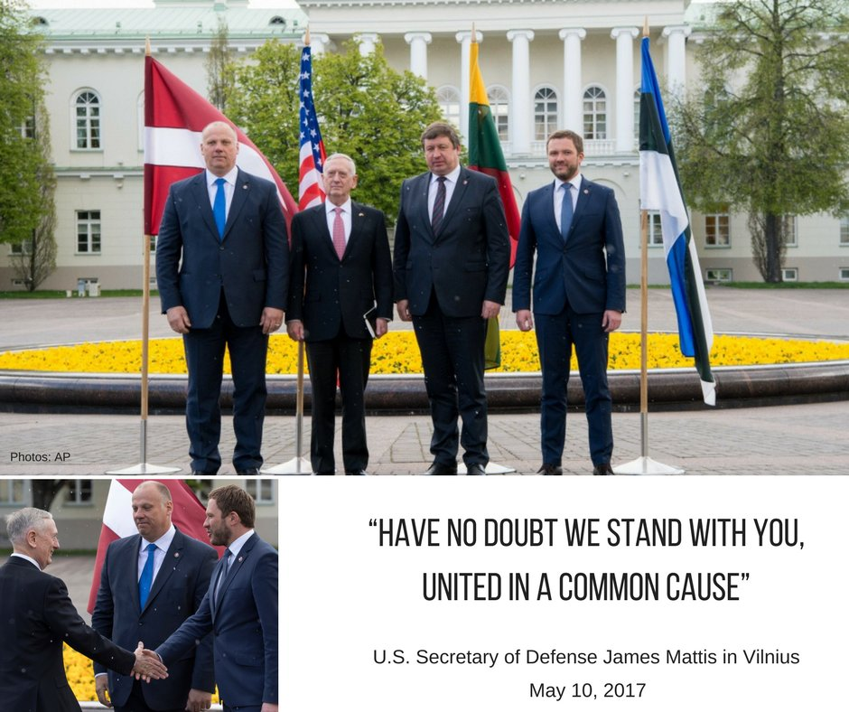 SecDef Mattis visited Vilnius y-day, meeting @Tsahkna  and  other Baltic DefMins: reassuring Estonia, Lithuania, Latvia allies of U.S. solidarity with @NATO alliance